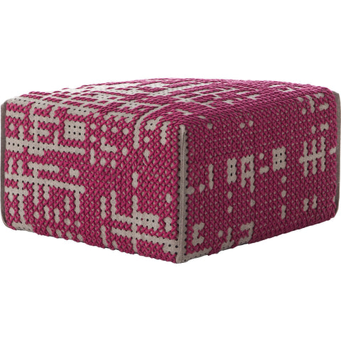 Gan Canevas Abstract Square Pouf Ottoman | Dark Pink/Dark Gray 02CN28693CL77