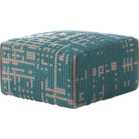 Gan Canevas Abstract Square Pouf Ottoman | Green/Dark Gray 02CN28693CL78