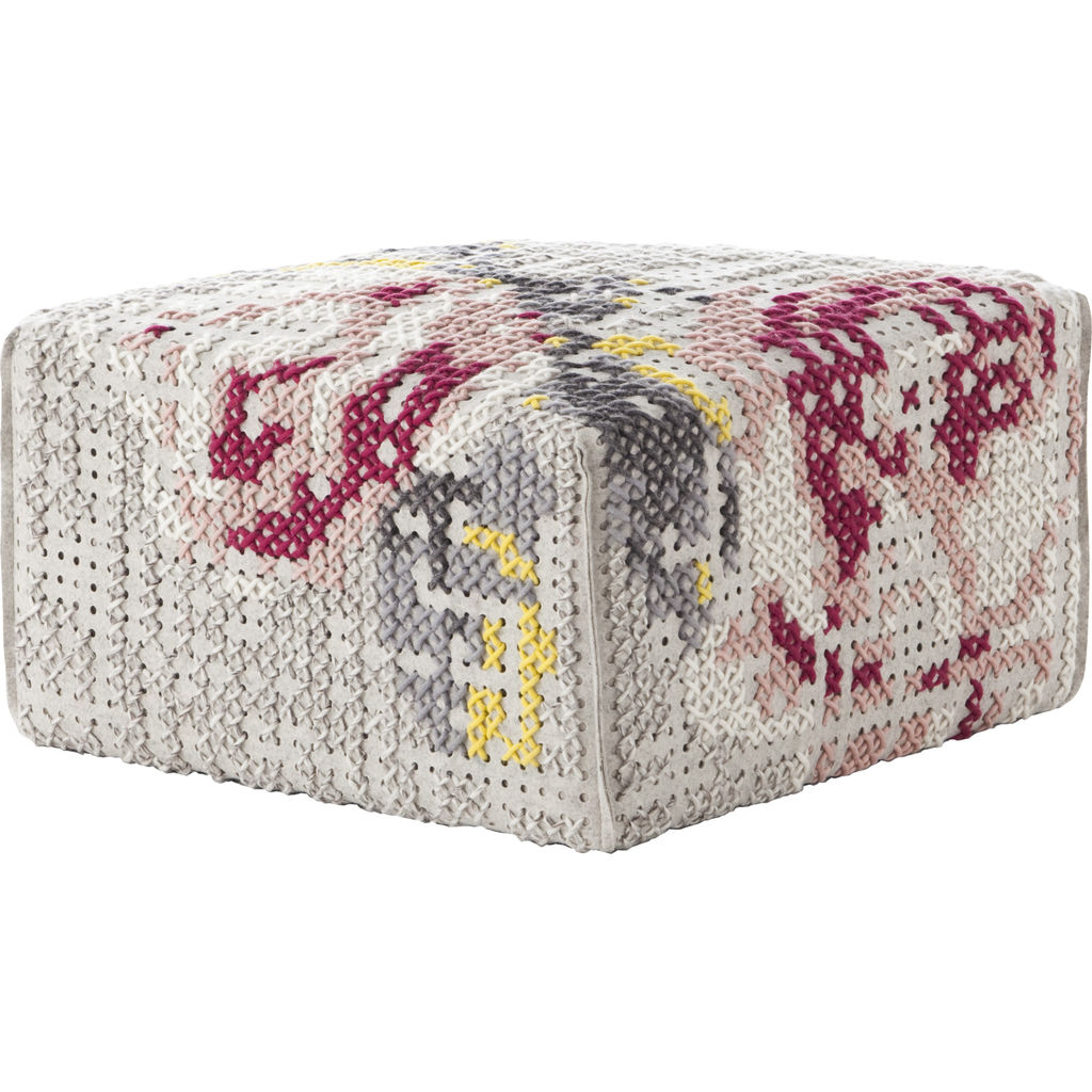 Gan Canevas Flowers Square Pouf Ottoman | Light Gray 02CN29093CL92