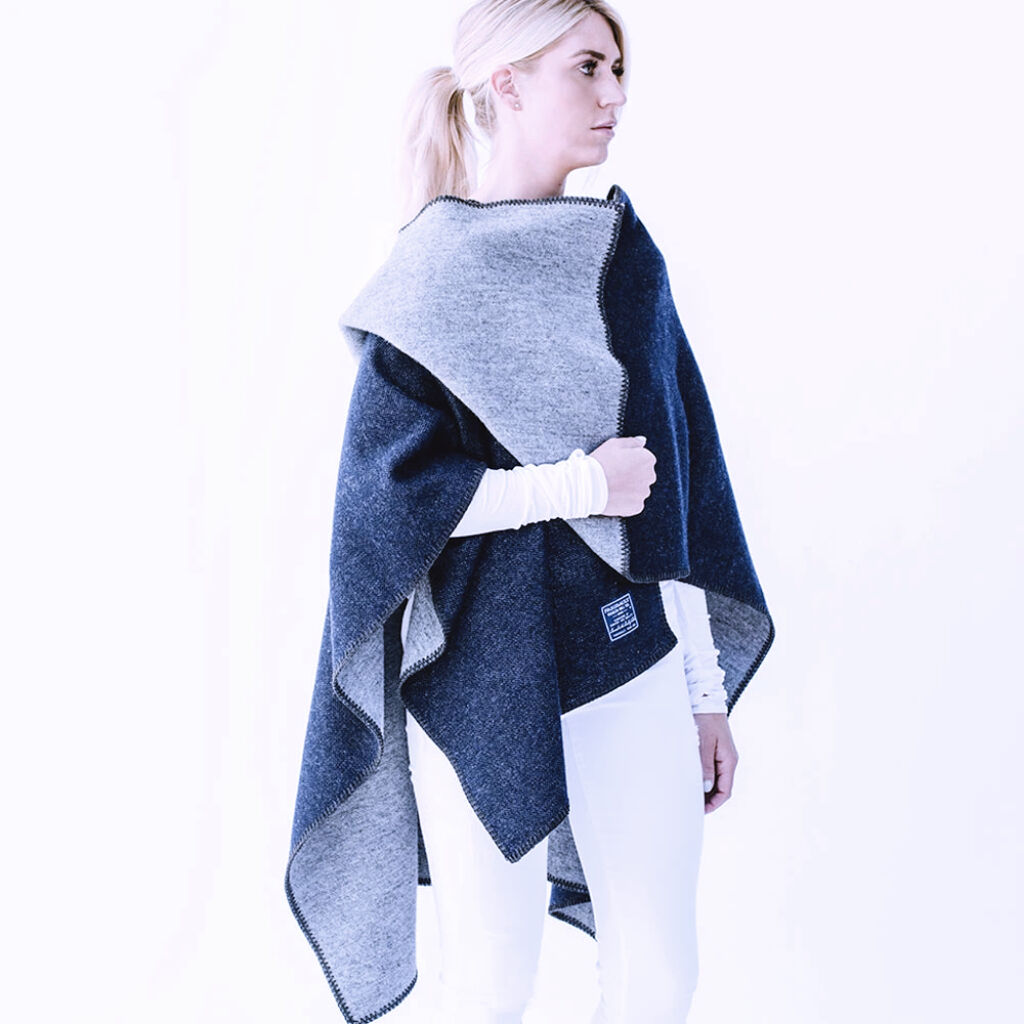 Reversible Solid Wool Wrap - Navy Gray