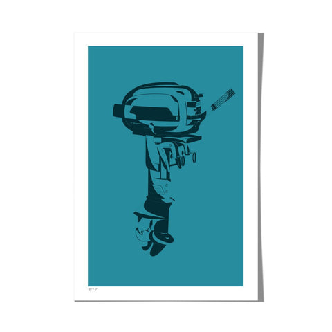 "Roo Kee Roo Art Print | Outboard Motor Two-Color 13"" x 19"""
