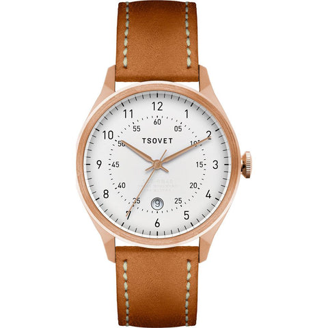Tsovet SVT-RM40 Rose Gold & White Watch | Tan Leather
