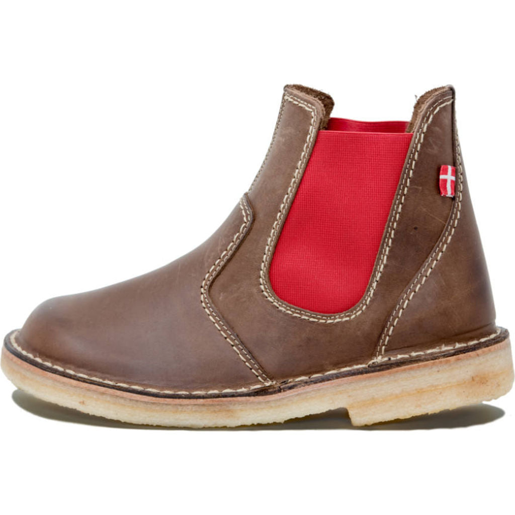 Duckfeet Roskilde Leather Boots in Cocoa/Red