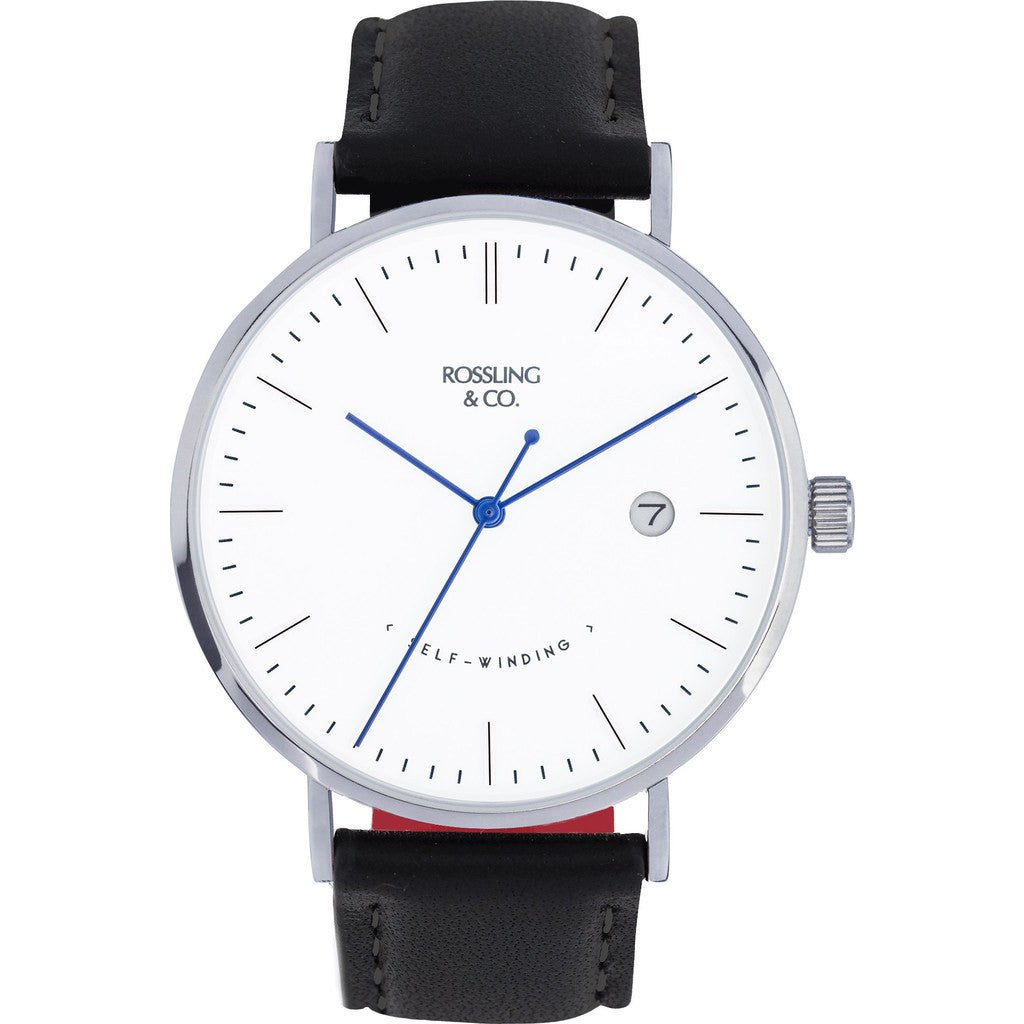Rossling & Co. Classic Automatic Rogart Watch | Silver/White/Blue