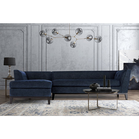TOV Furniture Jess Textured Linen LAF Sectional | Navy- TOV-L4913