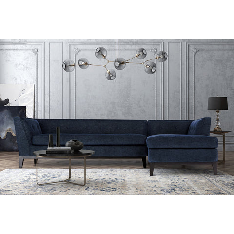 TOV Furniture Jess Textured Linen RAF Sectional | Navy- TOV-L4912