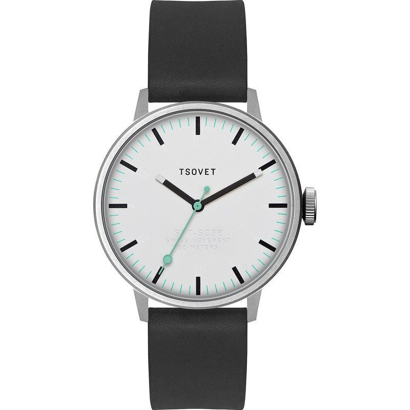 Tsovet SVT-SC38 White & Black Watch | Black Leather SC111510-40