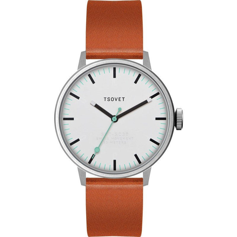 Tsovet SVT-SC38 Steel & White Watch | Tan Leather SC111513-40