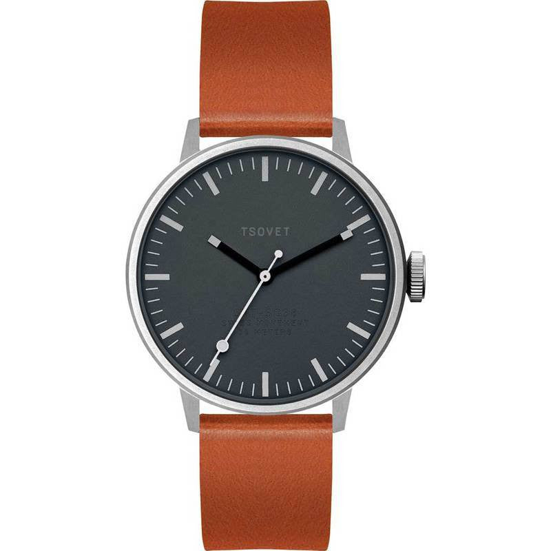 Tsovet SVT-SC38 Silver & Gunmetal Watch | Brown Leather SC111813-45