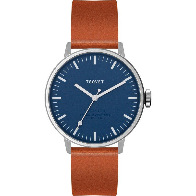 Tsovet SVT-SC38 Navy & White Watch | Tan Leather SC112813-45