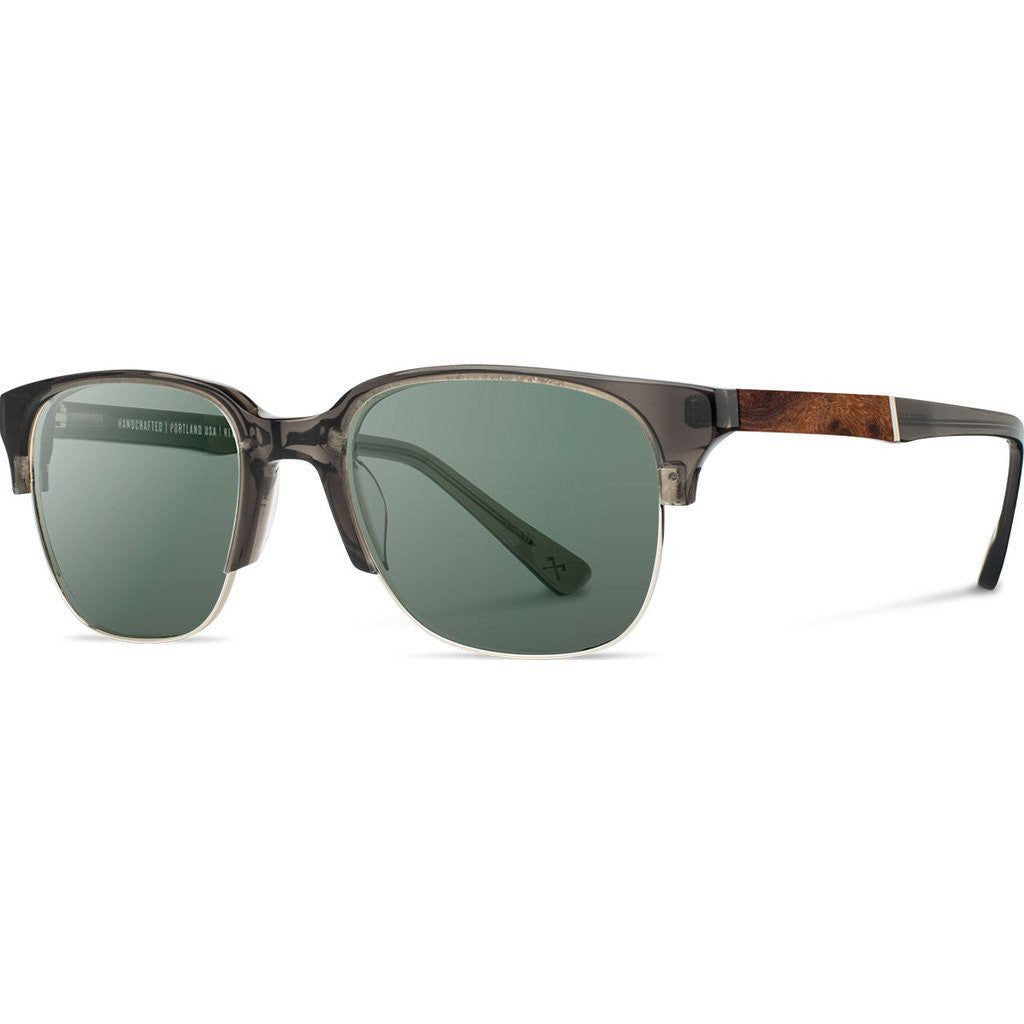 Shwood Newport Acetate 52mm Sunglasses | Charcoal & Elm Burl / G15 Polarized WANCELFP