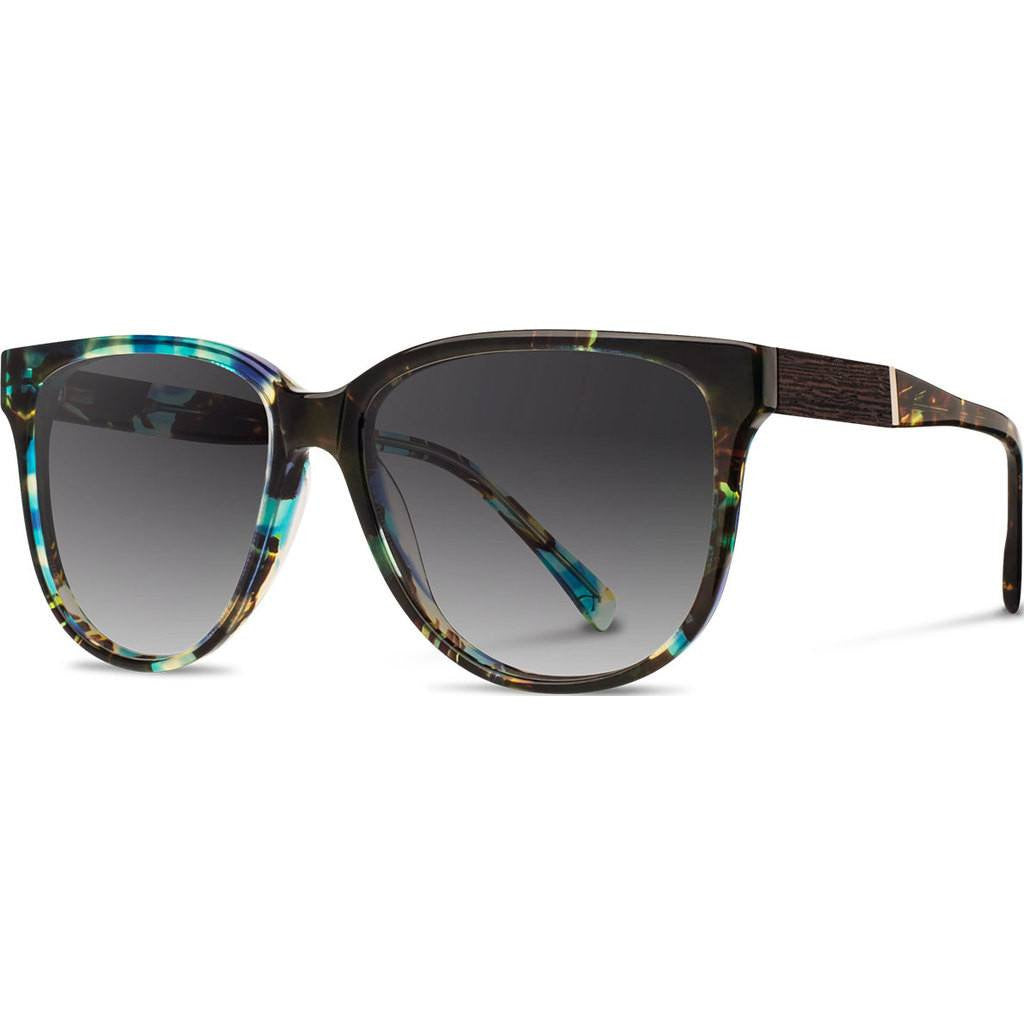 Shwood Mckenzie Acetate Sunglasses | Blue Opal & Ebony / Grey Fade Polarized WWAM3B2G2P