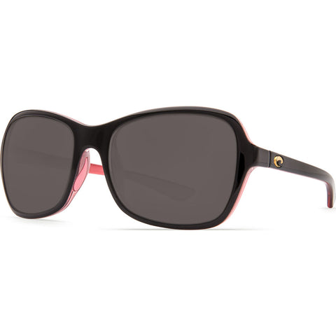 Costa Kare Shiny Black Hibiscus Sunglasses | Gray 580P