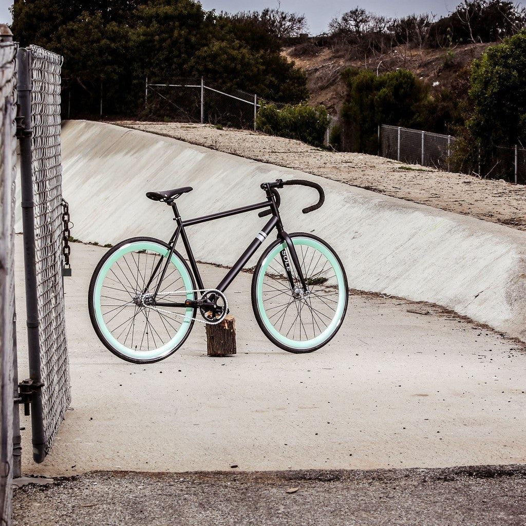 Sole Bicycles Foamside Fixed Single Speed Bike | Matte Black Frame/Seafoam Green Rims Sole 054-59