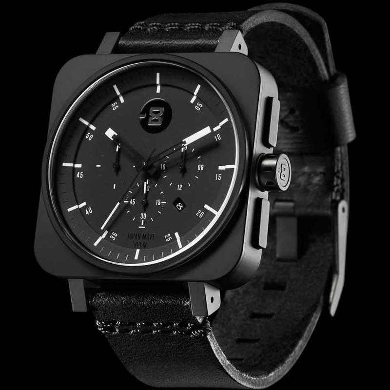 Minus-8 Square Black/Black Chronograph Watch | Leather