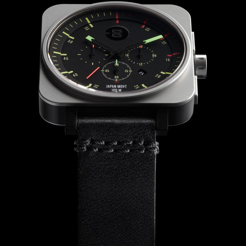 Minus-8 Square Black/Bright Chronograph Watch | Leather