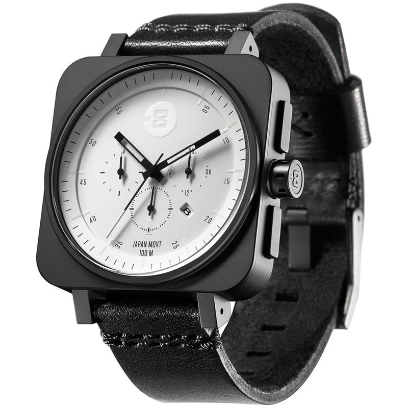 Minus-8 Square Black/White Chronograph Watch | Leather