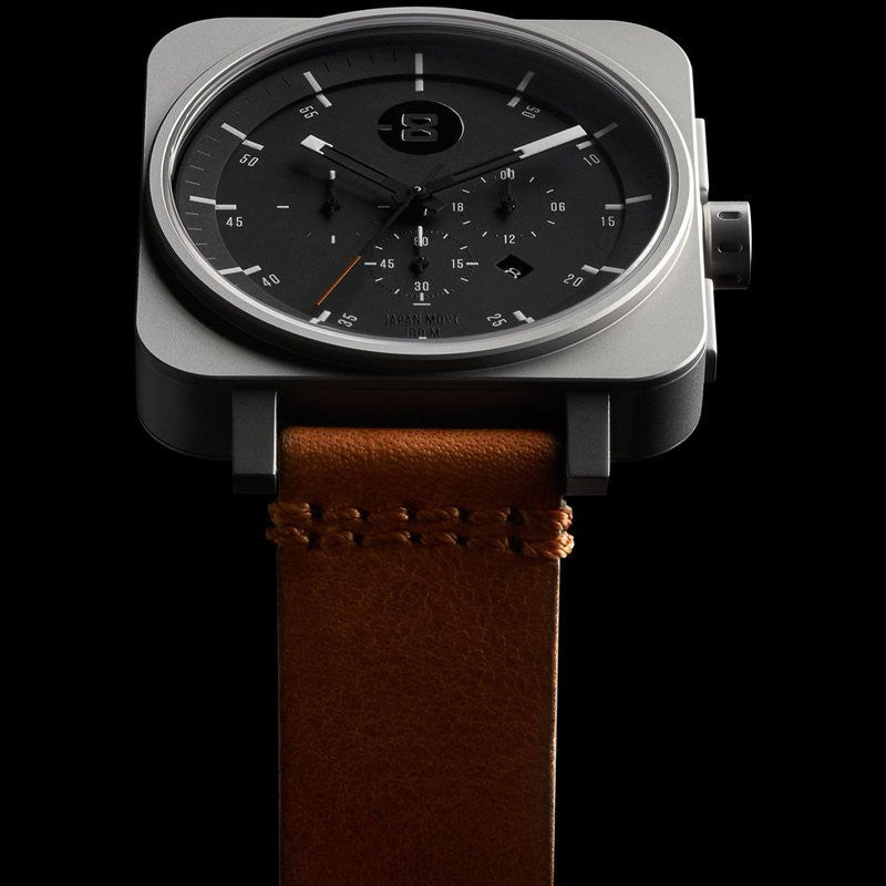 Minus-8 Square Black/Silver Chronograph Watch | Leather