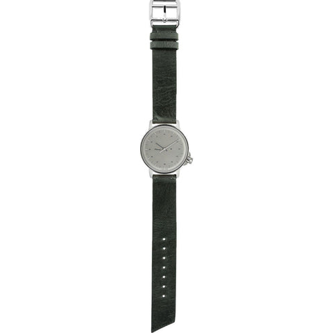 Miansai M12 Swiss Stainless Steel Silver Watch | Vintage Gray Leather 106-0002-007