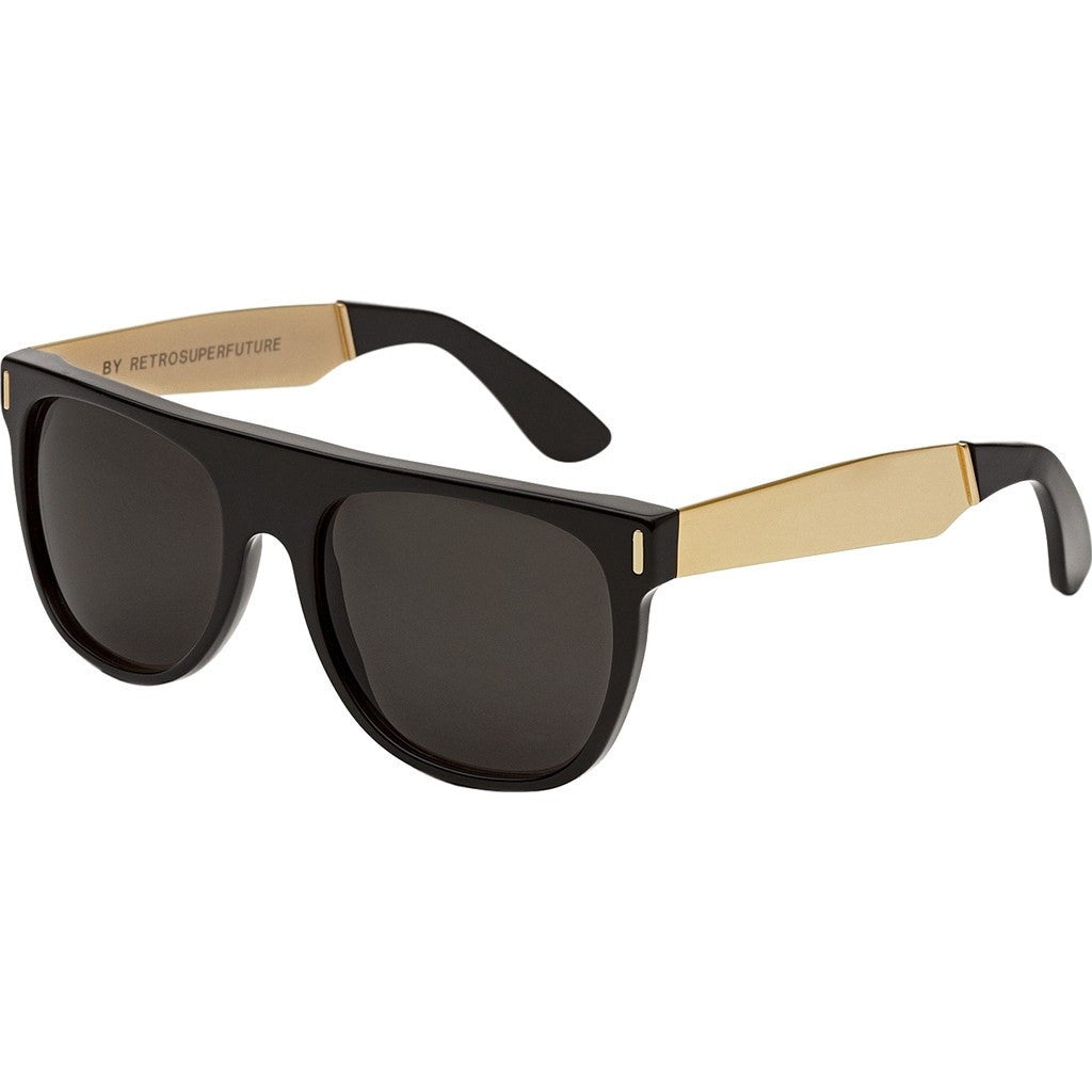 RetroSuperFuture Flat Top Sunglasses | Francis Black Gold 180