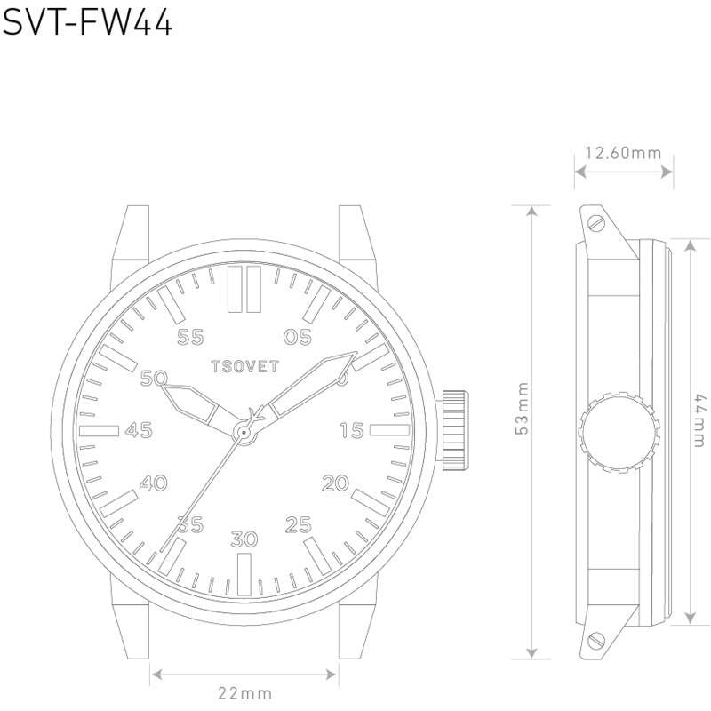 Tsovet SVT-FW44 Automatic White Watch | Brown Leather FW110100-40A