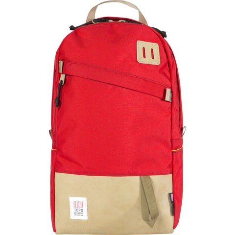 Topo Designs Daypack Backpack | Red/Khaki Leather