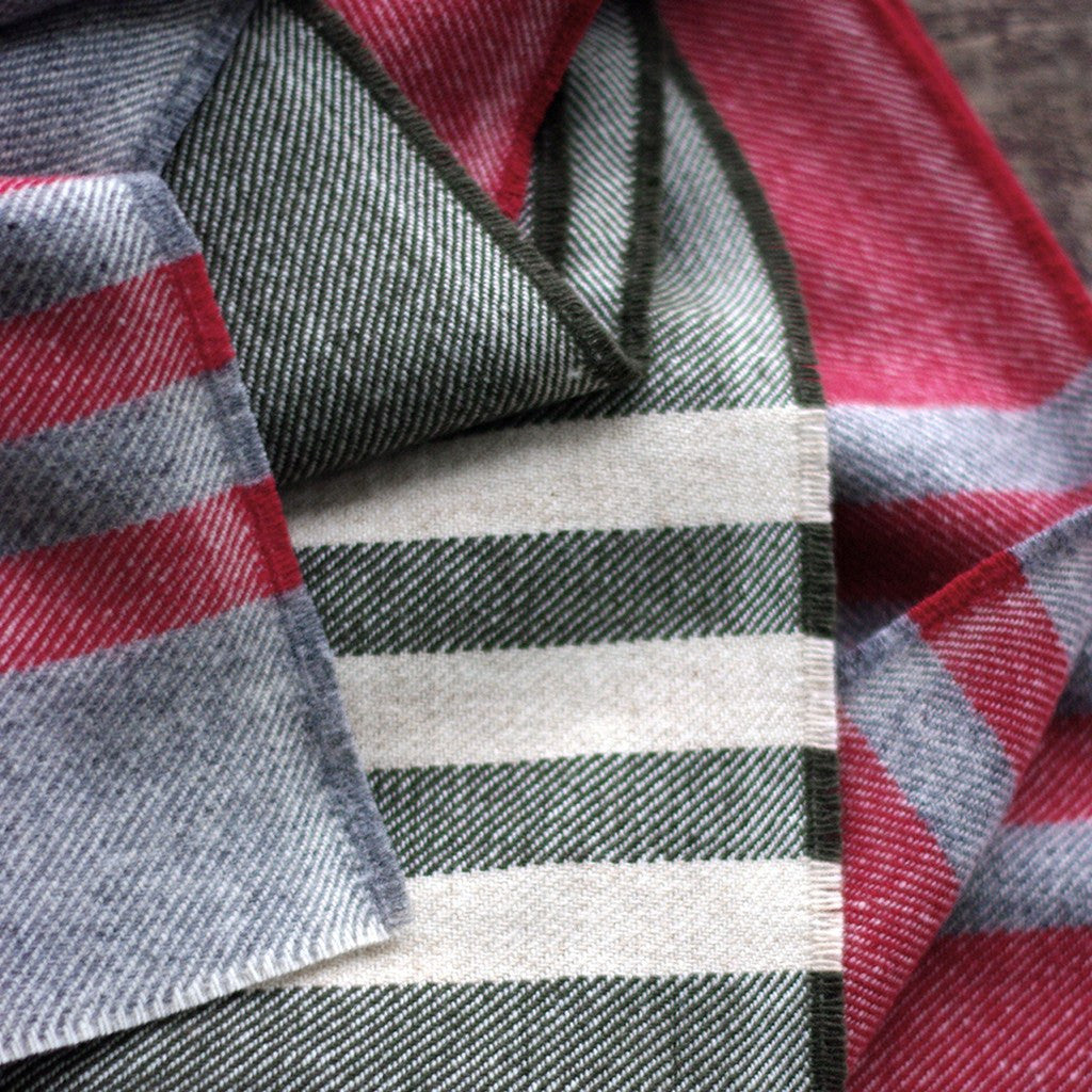 Faribault Trapper Wool Scarf | Gray/Red Stripe 2395 10x72