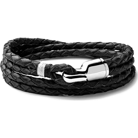Miansai Trice Black Woven Leather Bracelet | Sterling Silver L 101-0014-002