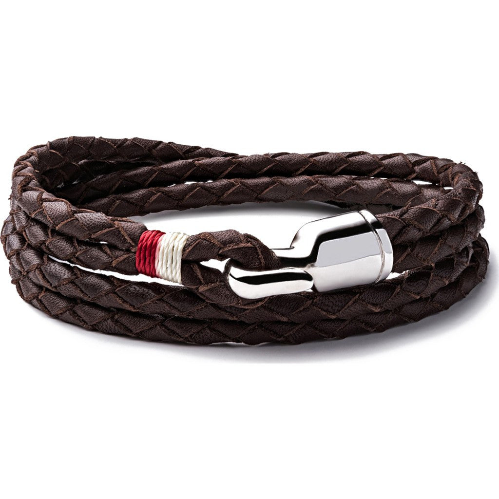 Miansai Trice Brown Woven Leather Bracelet | Sterling Silver Large 101-0014-021