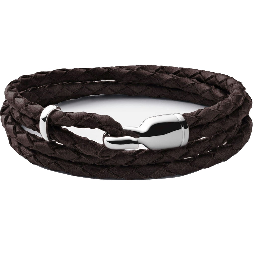 Miansai Trice Brown Leather Bracelet w/ Sleeve xrh9k