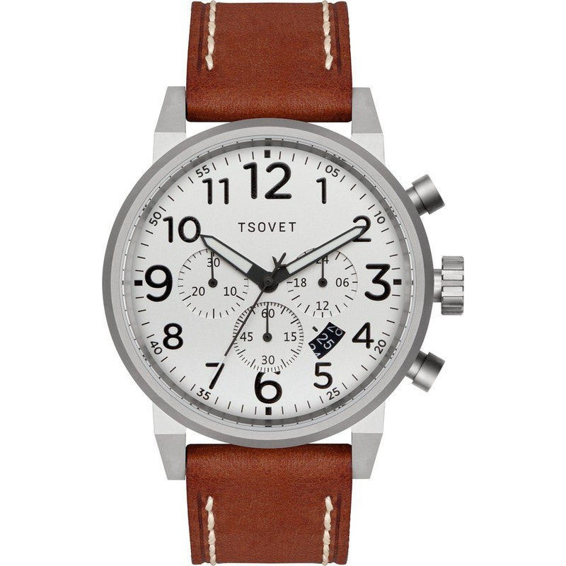 Tsovet JPT-TS44 Silver & White Chronograph Watch | Brown Leather TS110111-40
