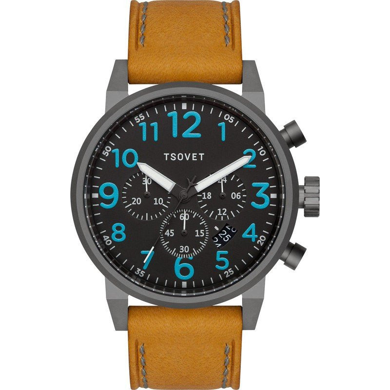 Tsovet JPT-TS44 Gunmetal & Black Chronograph Watch | Tan Leather