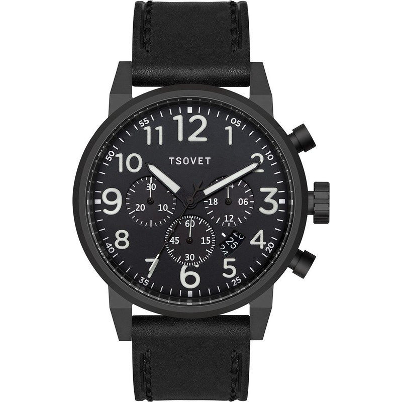 Tsovet JPT-TS44 Black Chronograph Watch | Black Leather TS331010-45