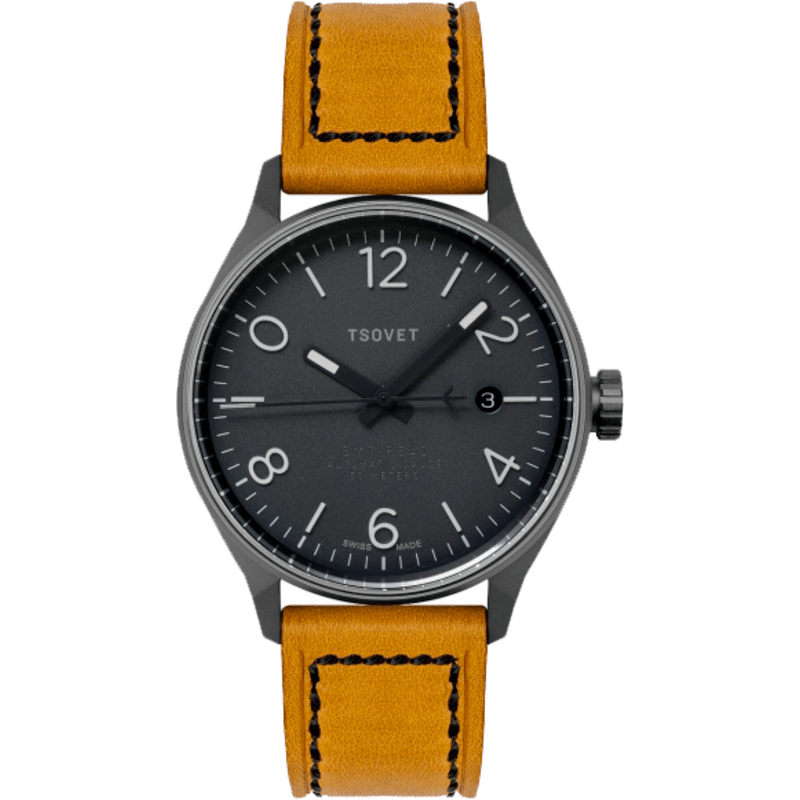 Tsovet SMT-RS40 Gunmetal Automatic Watch | Rouille Leather