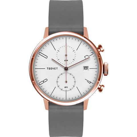 Tsovet JPT-CC38 Rose Gold Chronograph Watch | Grey Leather