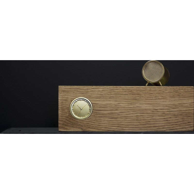 LEFF Amsterdam Tube Wood Desk Clock | Brass/Brown Oak