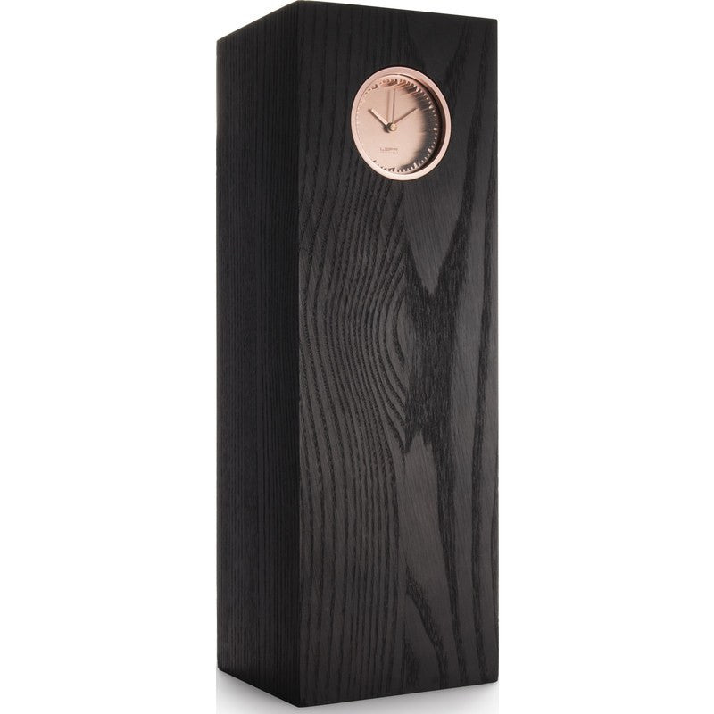 LEFF Amsterdam Tube Wood Desk Clock | Copper/Black Ash