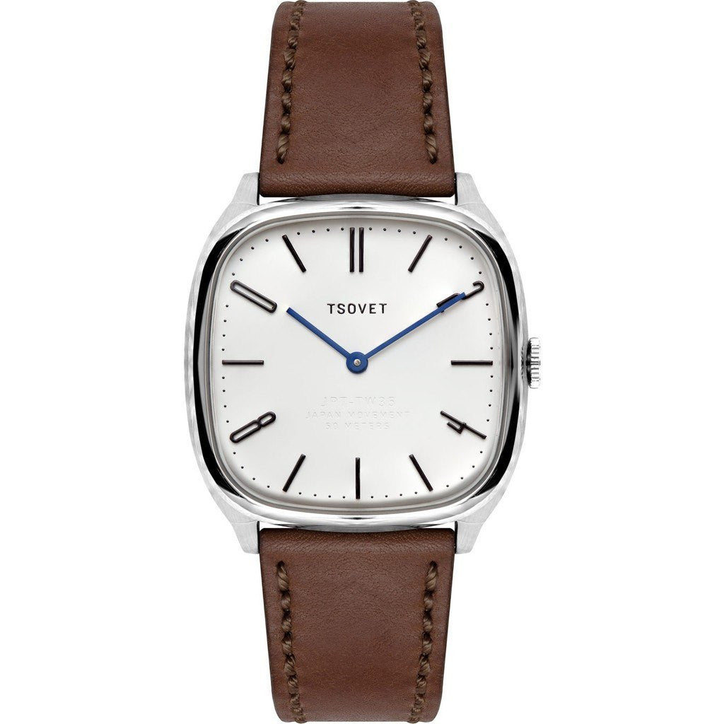 Tsovet JPT-TW35 Silver & Matte White Watch | Brown Leather