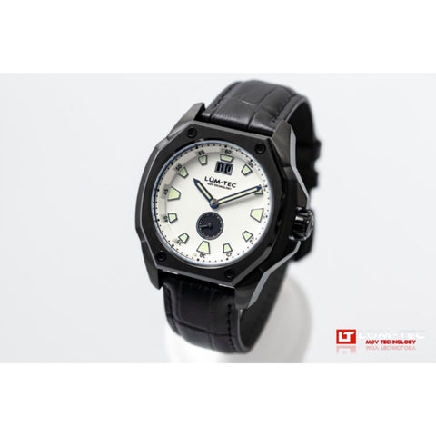 Lum-Tec V10 Big Date Watch - Black Croc Leather Strap