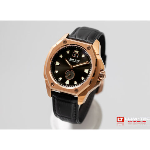 Lum-Tec V14 18K Gold PVD Coated Watch - Black Croc Leather Strap