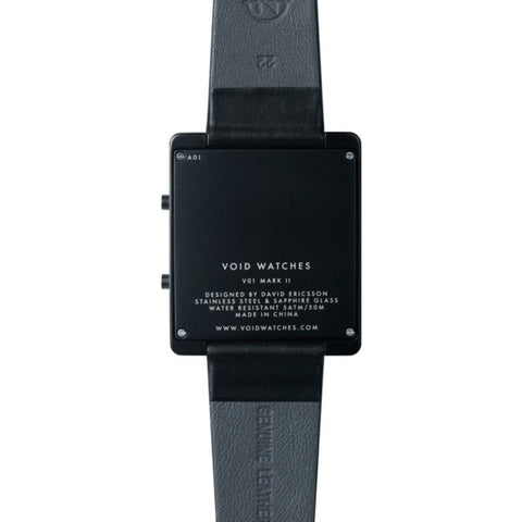 VOID V01 Matte Black LCD Watch | Black Leather