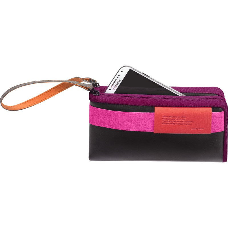 Cote et Ciel Large Leather Wallet | Black/Pink/Orchid 28086