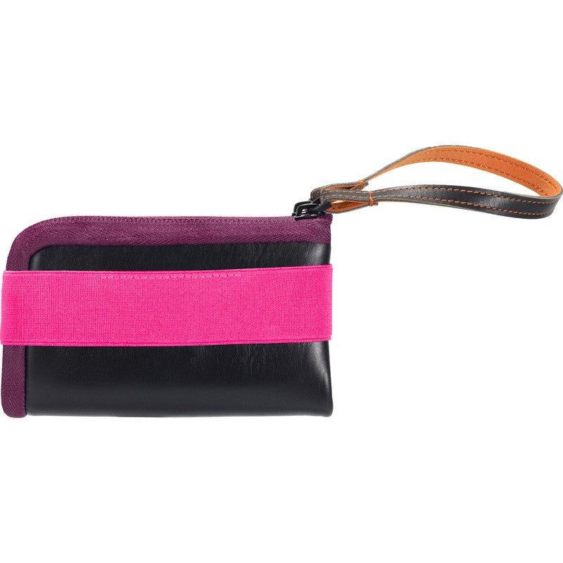 Cote et Ciel Medium Leather Wallet | Black/Pink/Orchid 28084