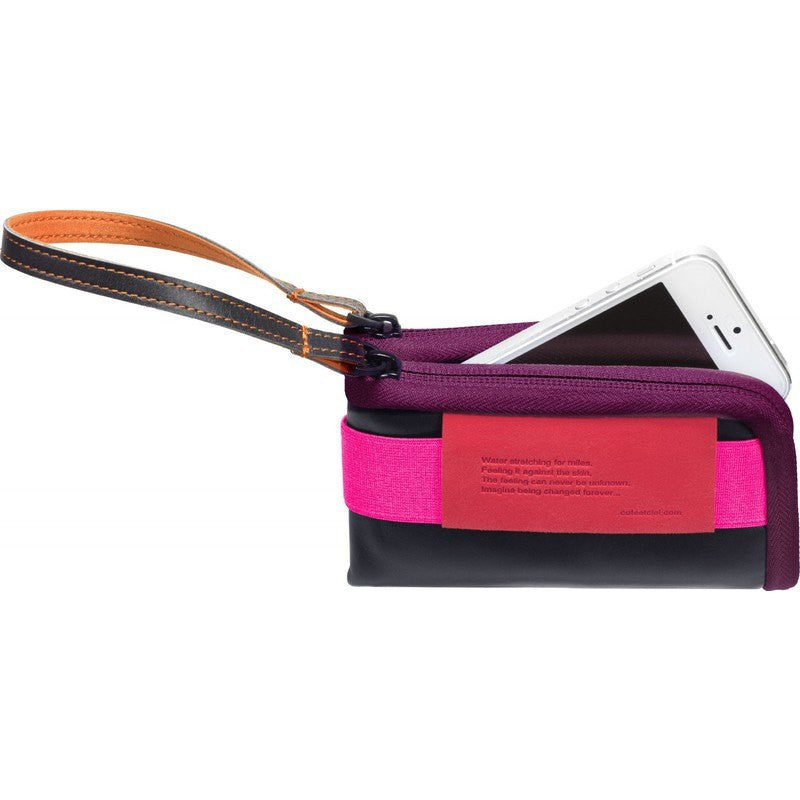 Cote et Ciel Medium Leather Wallet | Black/Pink/Orchid