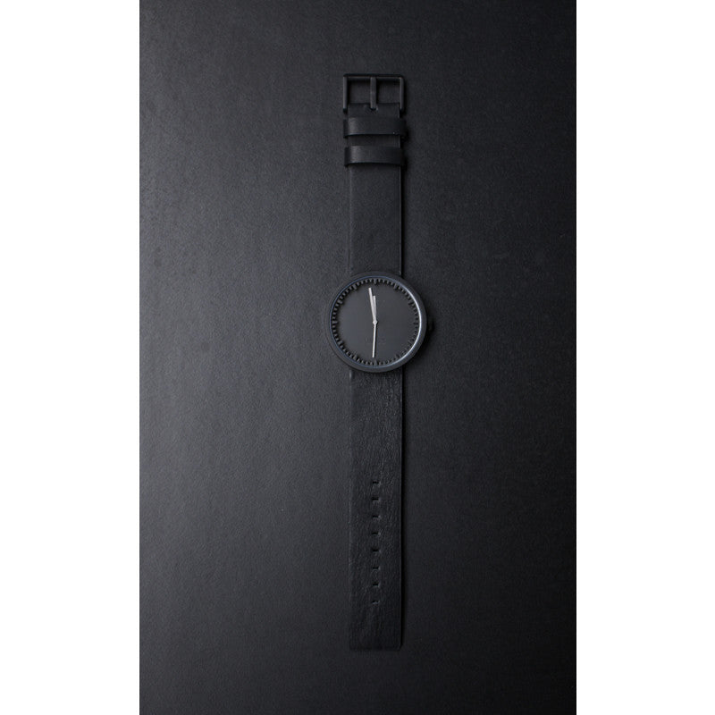 LEFF amsterdam D42 Tube Watch | Black/Black Leather Strap