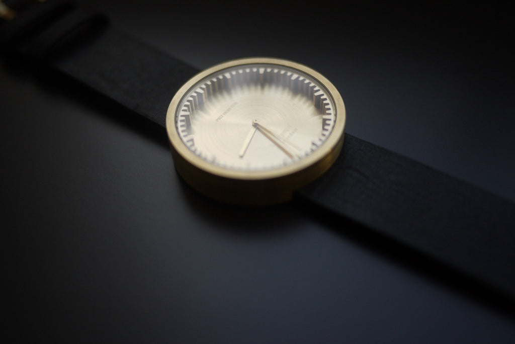 LEFF amsterdam D42 Tube Wrist Watch | Brass/Brown Leather Strap