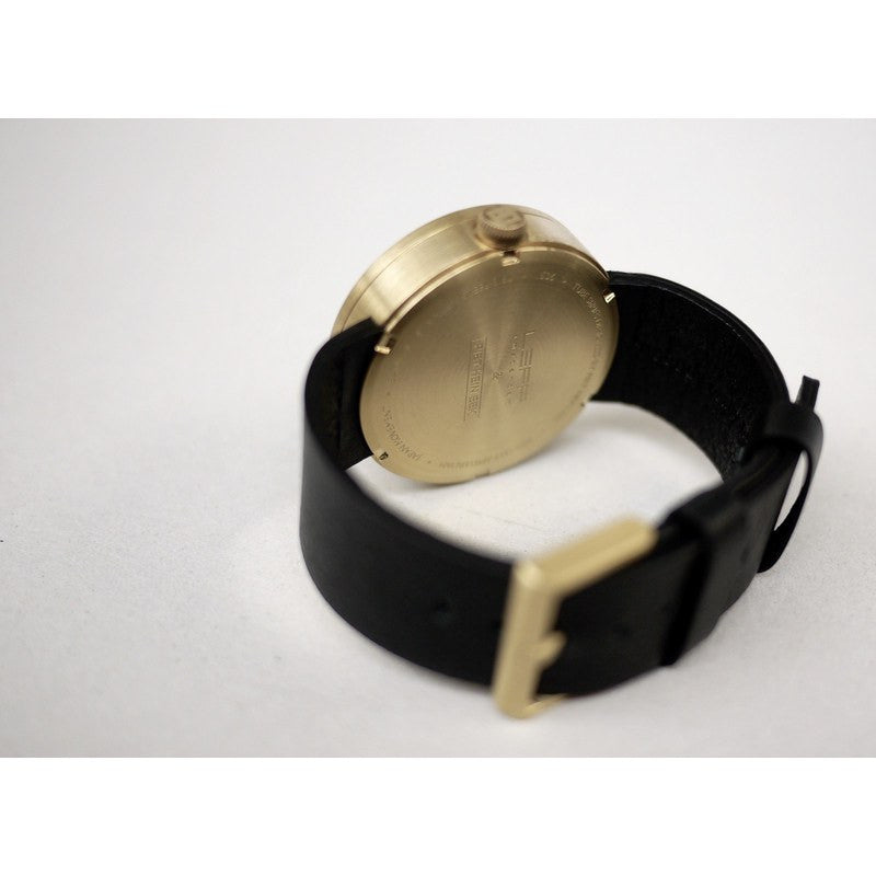 LEFF amsterdam D42 Tube Wrist Watch | Brass/Black Leather Strap