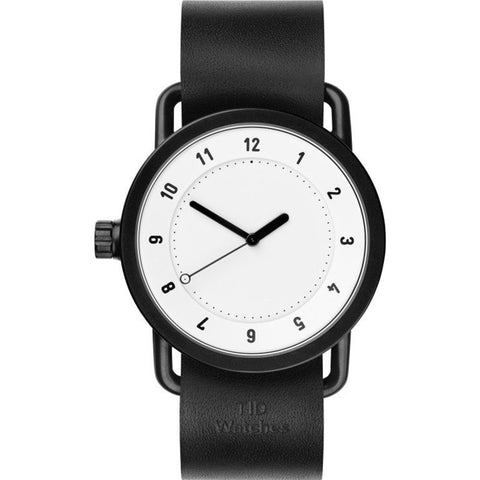 TID No. 1 White Watch | Black Leather