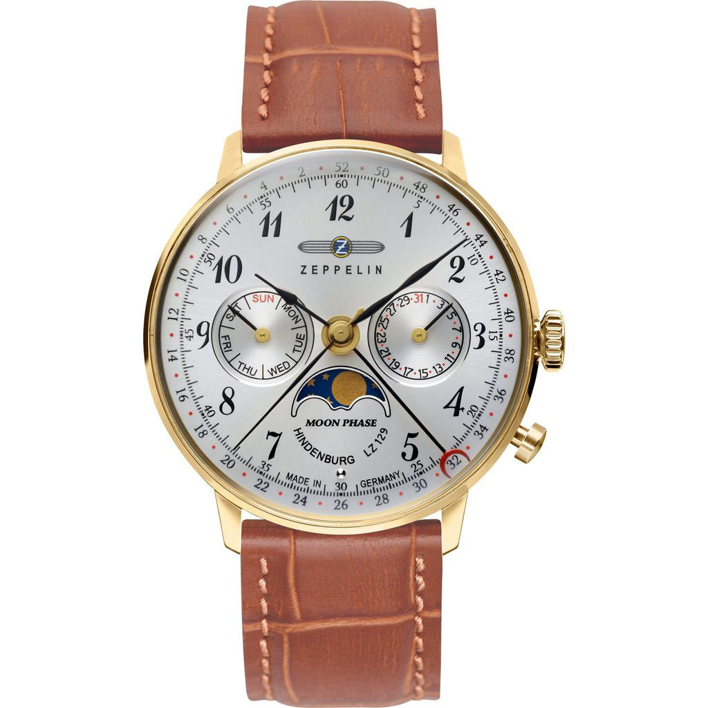 Zeppelin Hindenburg Watch with Moonphase Indicator | Gold Case & Light Brown Leather 7039-1