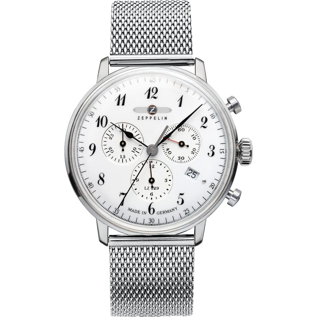 Zeppelin Hindenburg Chronograph Watch | White & Stainless Steel 7086M-1